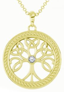 """Tree of Life"" Gold Diamond .1cts Celtic Pendant Necklace"