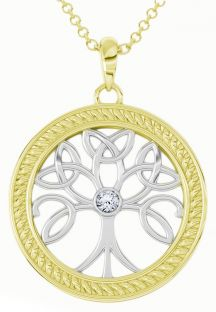 """Tree of Life"" White & Yellow Gold over Silver Diamond Celtic Pendant Necklace"