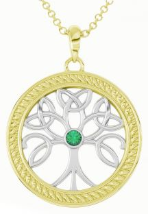 """Tree of Life"" White & Yellow Gold over Silver Emerald Celtic Pendant Necklace"