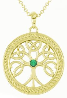 """Tree of Life"" Gold over Silver Emerald Celtic Pendant Necklace"