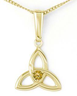 "Gold Citrine .06cts ""Celtic Knot"" Pendant Necklace - November Birthstone"