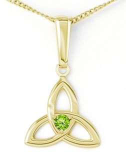 "Gold Peridot .06cts ""Celtic Knot"" Pendant Necklace - August Birthstone"