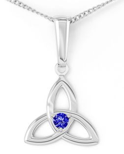 """White Gold Genuine Sapphire .06cts """"Celtic Knot"""" Pendant Necklace - September Birthstone"""