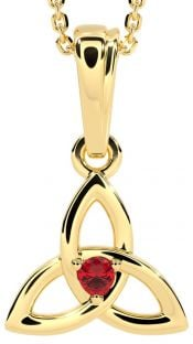 """Gold Genuine Ruby .06cts """"Celtic Knot"""" Pendant Necklace - July Birthstone"""