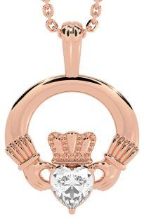 Rose Gold Diamond Irish Claddagh Pendant Necklace