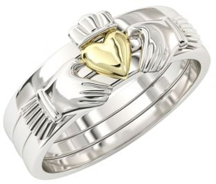 Three Part Stackable Silver 14K Gold Claddagh Ring - For the Girl with a Heart of Gold