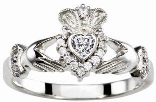 Ladies 10K/14K/18K Solid White Gold .43cts Diamond Claddagh Ring -April Birthstone
