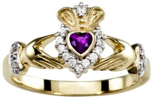 Ladies 10K/14K/18K Diamond and Amethyst Yellow Gold Claddagh Ring - February Birthstone