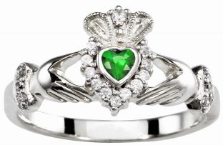 Ladies 10K/14K/18K Solid White Gold Emerald .25cts and  Diamond .18cts Claddagh Ring - May Birthstone