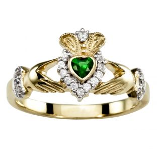 Ladies 10K/14K/18K Yellow Gold Emerald .25cts and Diamonds .18cts - May Birthstone