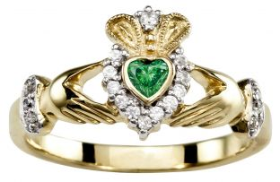 Ladies Emerald Diamond Gold coated Silver Claddagh Ring