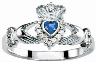 Ladies 10K/14K/18K Solid White Gold Sapphire .25cts and Diamond .18cts Claddagh Ring - September Birthstone