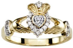 Ladies 10K/14K/18K Yellow Gold Diamond .43cts Claddagh Ring - April Birthstone