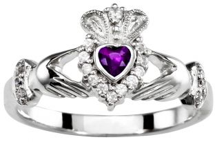 Ladies 10K/14K/18K Diamond and Amethyst Solid White Gold Claddagh Ring - February Birthstone