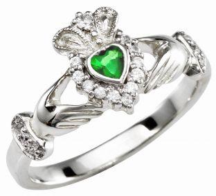 Ladies Emerald Diamond Silver Claddagh Ring - May Birthstone