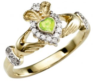 August Birthstone 10K/14K/18K Yellow Gold Claddagh Ring