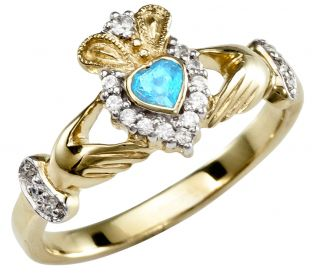 Aquamarine 10K/14K/18K Yellow Gold Claddagh Ring
