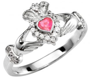 Ladies Ruby Silver Claddagh Ring