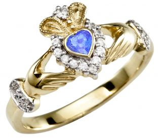 Ladies 10K/14K/18K Yellow Gold Diamond  and Sapphire Claddagh Ring