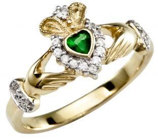 Ladies 10K Solid Yellow Gold Diamond Claddagh Ring
