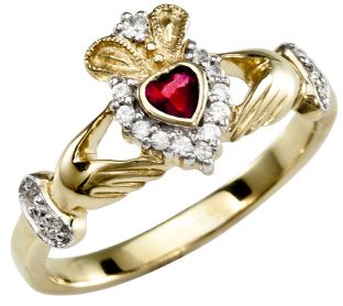 January Birthstone 10K/14K/18K Yellow Gold Claddagh Ring