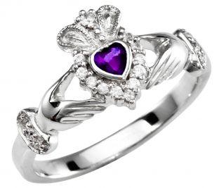 February Birthstone 10K/14K/18K Solid White Gold Claddagh Ring