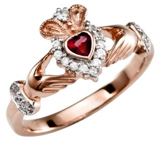 Ladies 10K/14K/18K Rose Gold Ruby Diamond Claddagh Ring