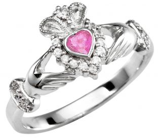 Amethyst 10K/14K/18K White Gold Claddagh Ring
