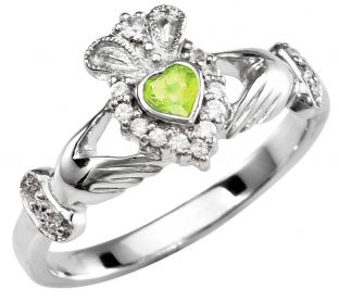 June Birthstone 10K/14K/18K Solid White Gold Claddagh Ring