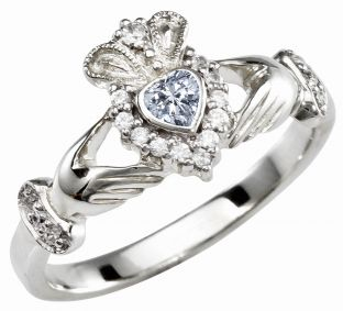Ladies 10K/14K/18K Solid White Gold Diamond Claddagh Ring
