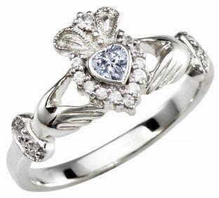 Ladies 10K/14K/18K Solid White Gold Diamond Claddagh Ring