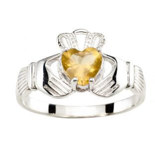 Ladies Yellow Sapphire Silver Claddagh Ring
