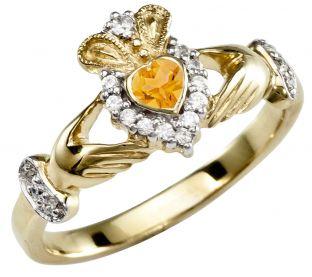 November Birthstone 10K/14K/18K Yellow Gold Claddagh Ring