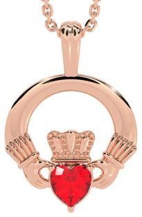 "Rose Gold Ruby .18cts Irish ""Claddagh"" Pendant Necklace - July Birthstone"