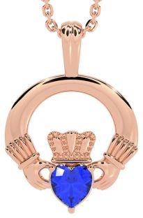 "Rose Gold Sapphire .18cts Irish ""Claddagh"" Pendant Necklace - September Birthstone"