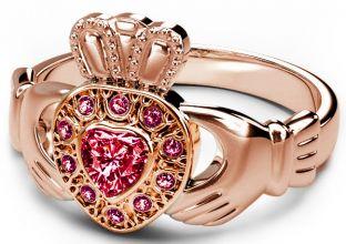 10K/14K/18K Rose Gold Genuine Ruby .38cts Claddagh Ring