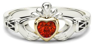 Ladies Ruby Silver Gold Claddagh Ring