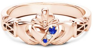 Rose Gold Natural Blue Sapphire .035cts Natural Diamond .01cts Claddagh Celtic Knot Ring - September Birthstone