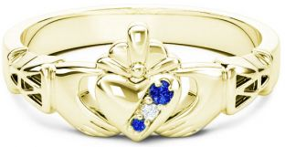 Gold Natural Blue Sapphire .035cts Natural Diamond .01cts Claddagh Celtic Knot Ring - September Birthstone