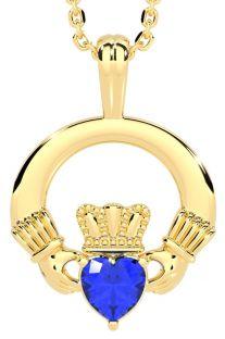 Gold Sapphire .18cts Irish Claddagh Pendant Necklace - September Birthstone