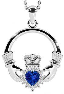 Sapphire Silver Claddagh Pendant