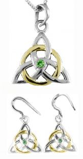 "14K White Gold Genuine Emerald Irish ""Celtic Knot"" Dangle Earrings & Necklace Set"