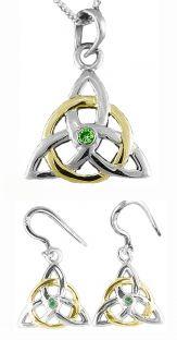"14K White Gold Genuine Emerald Irish ""Celtic Knot"" Dangle Earrings & Necklace Set"