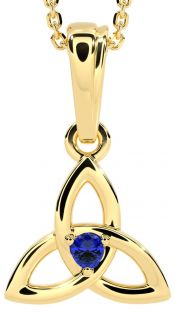 """Gold Genuine Sapphire .06cts """"Celtic Knot"""" Pendant Necklace - September Birthstone"""