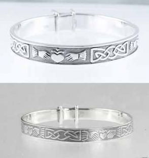 Silver Claddagh Bangles Mother Baby Set