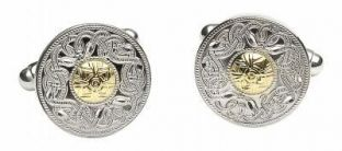 """14K Two Tone Gold Solid Silver Celtic """"Warrior"""" Cufflinks"""