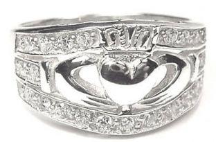 Ladies Silver Diamond Claddagh Ring