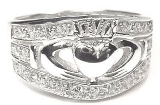 Ladies Silver Diamond Claddagh Ring