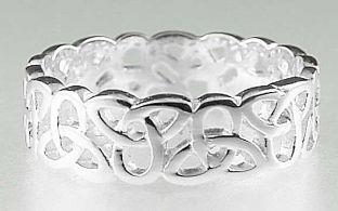 Mens 14K White Gold Silver Celtic Knot Band Ring