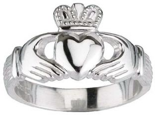 Ladies 14K white gold Silver Claddagh Ring